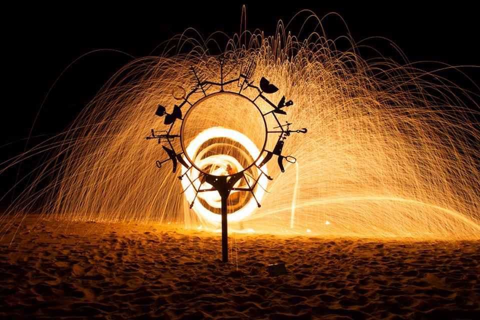sculpture on fire