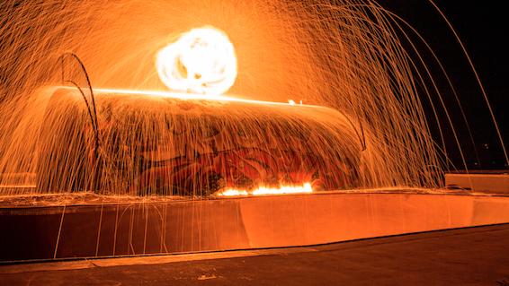 BMX on fire